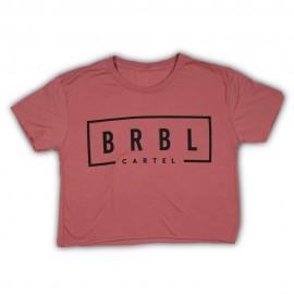 """THE BARBELL CARTEL - T-shirt Femme """"BRBL CROP"""" Brick"""