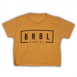 """THE BARBELL CARTEL - T-shirt Femme """"BRBL CROP"""" Gold"""